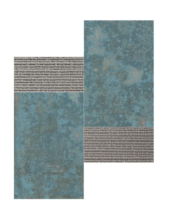 GRUNGE BLUE MOSAICO 3D SILVER