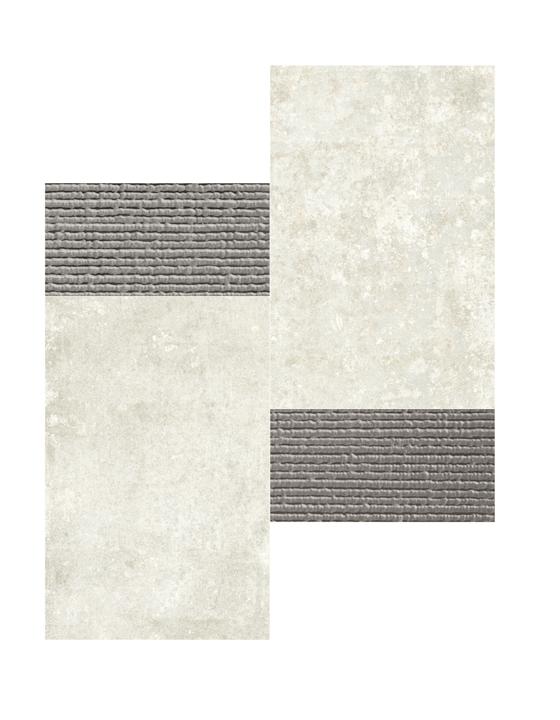 GRUNGE WHITE MOSAICO 3D SILVER