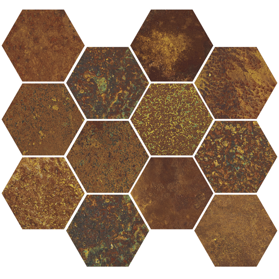 CORTEN OXIDIUM NAT MOS HEXAGON